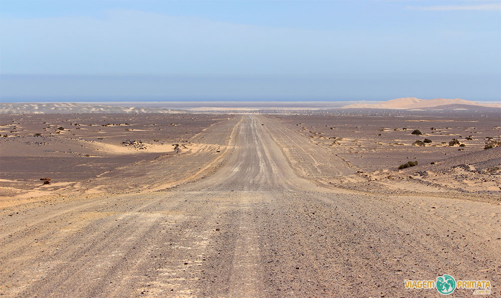 Caminho para a costa, onde as dunas do Namib Desert (Deserto da Namíbia) encontram com o mar na Skeleton Coast